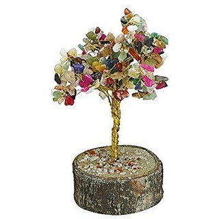 ReBuy Feng Shui Natural Gem Stone Tree With Multi Colour Stones, LUCKY TREE