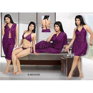 56263d888e 612C Hot Sleep Wear 6p Bra Panty Open Top Capri Babydoll Slip OC Wine Bed  Set