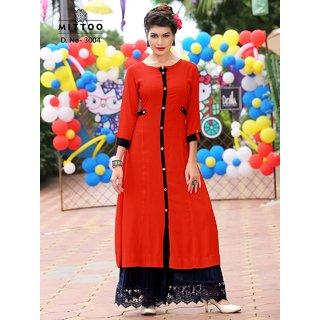 Mittoo Red Reyon Cottan Kurti Size L (40)