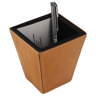 JL Collections Leather Unisex Camel  Black Pen Holder