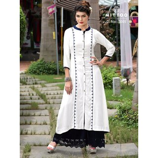 Mittoo Off White Cottan Kurti Size L (40)