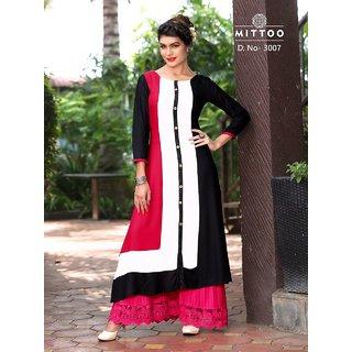 Mittoo Black And White Reyon Cottan Kurti Size L (40)