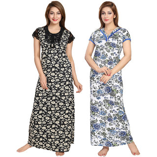 Be You Serena Satin Black-Blue Women Floral Printed Nightgowns Combo pack of 2