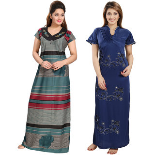 Be You Serena Satin Green-Blue Women Stripes Printed Maternity - Nightgowns Combo pack of 2