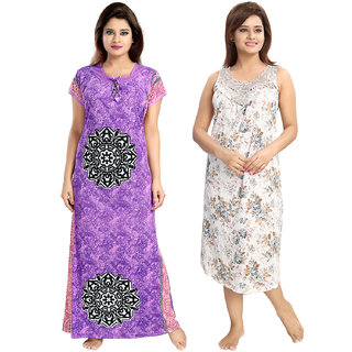 Be You Serena Satin Purple-Grey Women Floral Printed Nightgowns Combo pack of 2