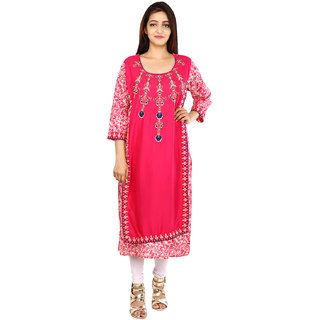 Be You Cotton Red-Pink Embroidered Layered Straight Kurta / Kurti