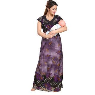 4bb75fc1a79aa Be You Serena Satin Purple Polka Dots Printed Women Feeding / Maternity  Nightgown