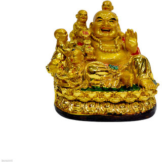 Feng Shui Laughing Buddha Surrounded By 5 Children /Kids Fulfilling Wish ReBuy