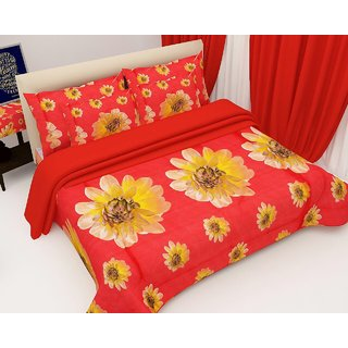 Angel Home Premium Quality 3D Double Bedsheet Set Red Flower