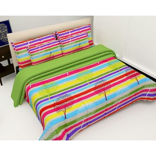 3D Polycotton Double Bedsheet With 2 Pillow Covers