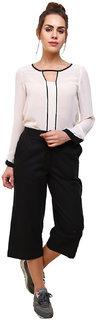 Klick2Style Cotton Linen Culotte Black Trouser