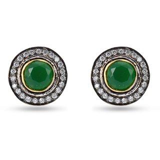 Tistabene Retails Traditional Round Design Green Stone Enamelled Stud Earring for Women And Girls (ER-2317)