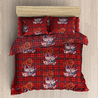 Polycotton 3D Double Bedsheet With 2 Pillow Covers