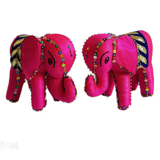 Sambhali Trust Pink Color Handmade Silk Elephant With Sequins And Beadings Show Piece Set of 2