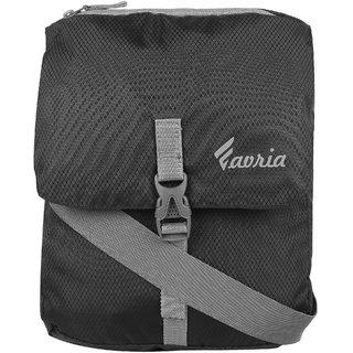 Favria Men Women Passport Sling Bag- Black Buckle