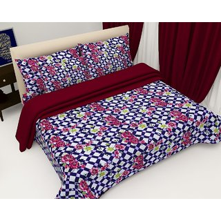 Polycotton 3D Double bedsheet with 2 Pillow Covers ( PL-43)