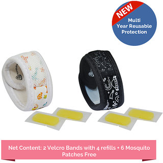 Safe-O-Kid Pack of 2 AQUA &  SPACE Theme Mosquito Repellent  Band with 4 refills and 6 anti mosquito patches