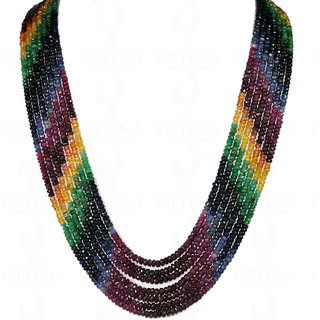 7 Rows of Emerald, Ruby, Sapphire Gemstone Faceted Bead Necklace
