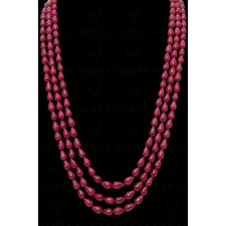 3 Rows of Natural Ruby Gemstone Drop Shaped Bead Necklace