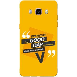 Galaxy J7 2016 Case, Galaxy On8 Case, Name Starts With V Yellow Orange Slim Fit Hard Case Cover/Back Cover for Samsung Galaxy J7 2016
