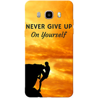 Galaxy J7 2016 Case, Galaxy On8 Case, Never Give Up Orange Black Slim Fit Hard Case Cover/Back Cover for Samsung Galaxy J7 2016