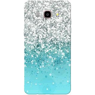 Galaxy J7 2016 Case, Galaxy On8 Case, Silver Sparkles Aqua Blue Slim Fit Hard Case Cover/Back Cover for Samsung Galaxy J7 2016