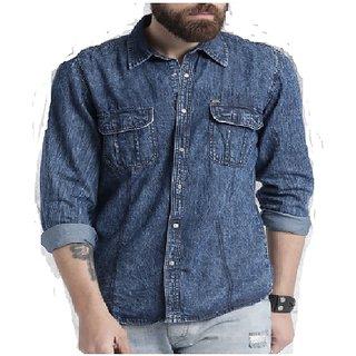 Urbano Fashion Men's Blue Casual Slim Fit Denim Shirt