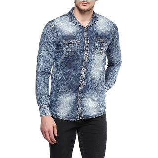 Urbano Fashion Men's Grey Casual Slim Fit Denim Shirt