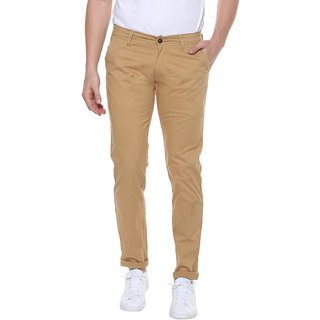 Urbano Fashion Men's Beige Slim Fit Stretchable Casual Chinos