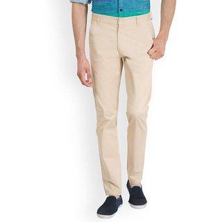 Urbano Fashion Men's Cream Slim Fit Stretchable Casual Chinos