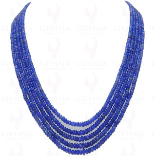 5 Rows of Tanzanite Gemstone Round Cabochon Bead Necklace