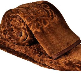 Angel homes Brown Emboss Blanket (Double Bed)
