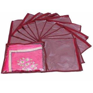 DIMONSIV Designer Single Saree Cover 12 pcs set (Maroon)
