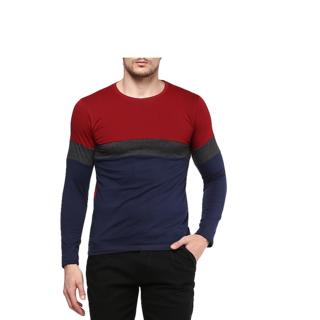 Urbano Fashion Men's Maroon, Charcoal Grey, Navy Blue Round Neck Full Sleeve T-Shirt
