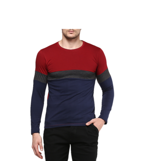 4a7b599e1638 Buy Urbano Fashion Men s Red-Blue Round Neck Full Sleeve Plain Cotton T- Shirt Online - Get 61% Off