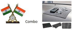 Combo Car Dashboard Non Slip mat + Indian Flag with Clock