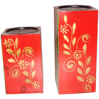NB Home Interior Multicolor Hand Painted Wooden Antique Candle Holder Set of 2