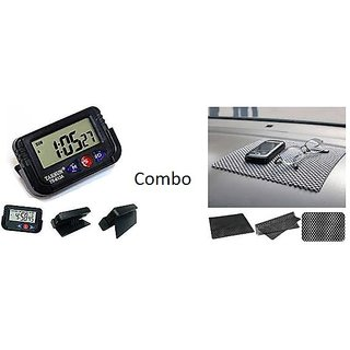 Combo Car Dashboard Non Slip mat + Digital Alarm Clock