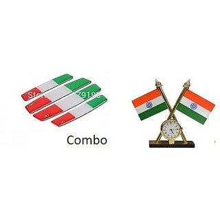 Combo Car Dashboard Indian Flag with Clock + Indian Door Guard