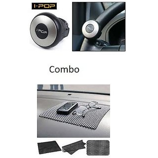 love4ride Combo Car Dashboard Non Slip Mat + I Pop Mini Steering Knob