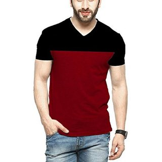 Veirdo Men's Maroon V-Neck T-shirt