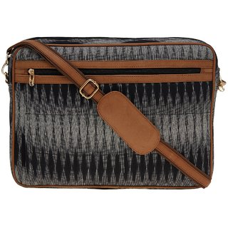 TARUSA Black Printed Fabric Laptop Bag