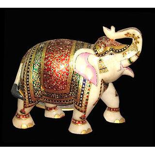 Elephant Marble Statue Multicolor