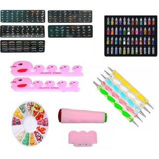 Royalkart Master Nail art Kit With 5 image plate Stamper Scrapper 48 pcs Nail glitter Dotting Tool 3D Fruit wheel