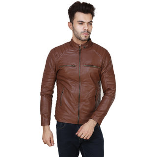 Brown Plain Winter Pu Leather Jacket For Men  boys
