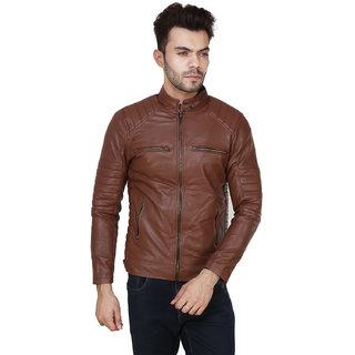Brown Plain Winter Pu Leather Jacket For Men  boys
