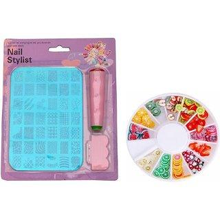Royalkart Nail art stamping kit Image Plate ( XY 14 ) with 3D nail Decoration Clay wheel (Multicolour)