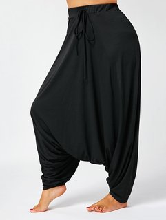 Black Harem Pants For Women- Rayon