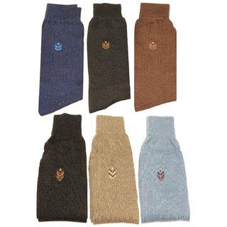 Neska Moda Premium 6 Pair Men Formal Cotton Mid Calf Length Office Socks Black Grey Beige
