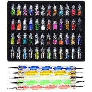 Royalkart 53 Pcs Exciting Nail Art Tools 48 Bottles 3D nail art AND 5 Pcs Double Sided Nail Dotting Tool Pen.
